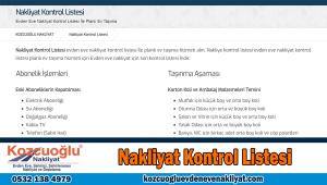 Nakliyat kontrol listesi İstanbul ev taşıma kontrol listesi