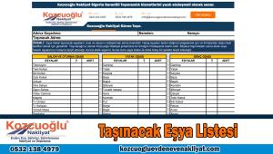 Taşınacak eşya listesi İstanbul nakliyat eşya listesi evden eve nakliyat listesi