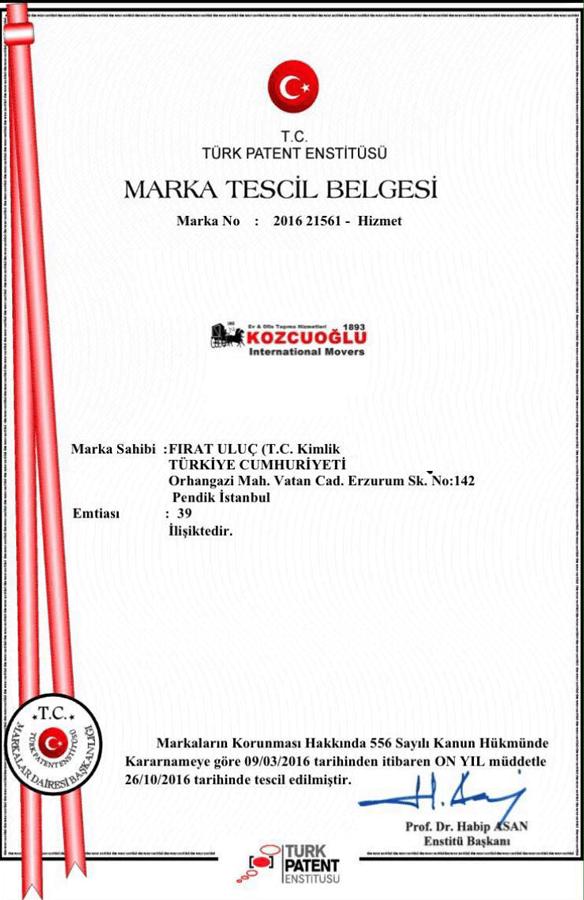 Kozcuoğlu evden eve nakliyat Marka Patent Belgesi